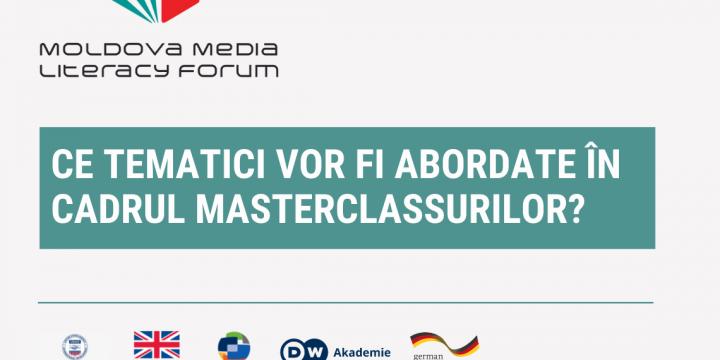 Moldova Media Literacy Forum // Ce tematici vor fi abordate în cadrul masterclassurilor